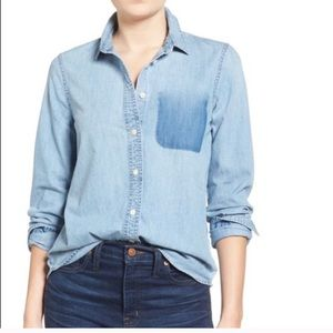 Madewell Shrunken Denim ExBoyfriend Button Down XS